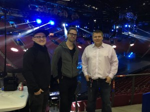 Teo (centre) and Upi (left) meeting with Muse Drones tour lighting designer Oli Metcalfe (right) before the show in Montreal.