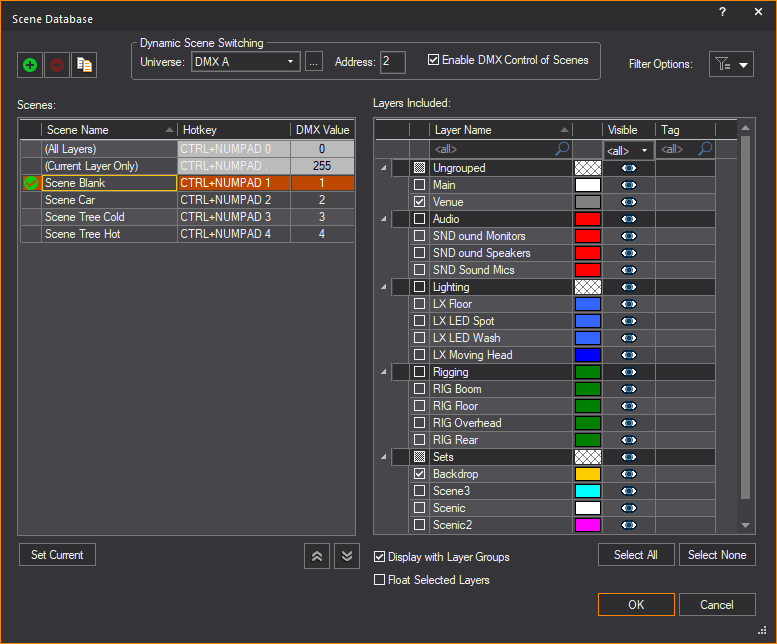Scene Database window showing the Hotkey, DMX Value columns, and Dynamic Scene Switching section.
